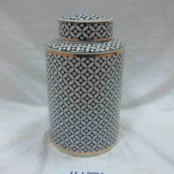 rzka161272   金边黑底 陶瓷罐 茶叶罐 糖果罐 中号