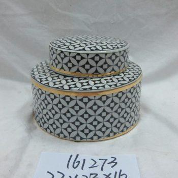 rzka161273    金边黑底纹 陶瓷罐 茶叶罐 糖果罐 小号