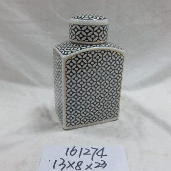 rzka161274    金边 黑底纹扁形 陶瓷罐 茶叶罐 糖果罐 小号