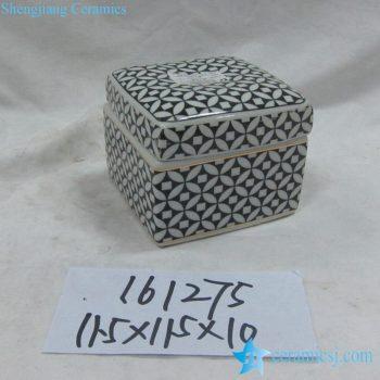 rzka161275   金边黑底纹 四方形 印泥盒
