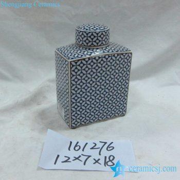 rzka161276 金边青花底纹扁形 陶瓷罐 茶叶罐 糖果罐