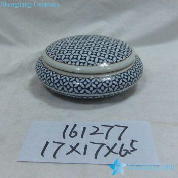 rzka161277    金边  青花图案底纹 圆形 印泥盒