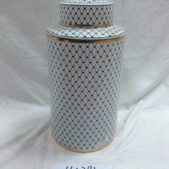 rzka161281     金边青花底纹线条直筒 陶瓷罐 茶叶罐 糖果罐 中号