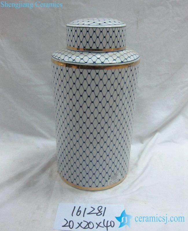金边青花底纹线条直筒 陶瓷罐 茶叶罐 糖果罐 中号