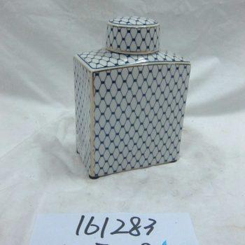 rzka161283   金边青花底纹线条 扁形 陶瓷罐 茶叶罐 糖果罐 矮