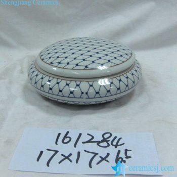 rzka161284    金边 青花底纹  圆形 印泥盒