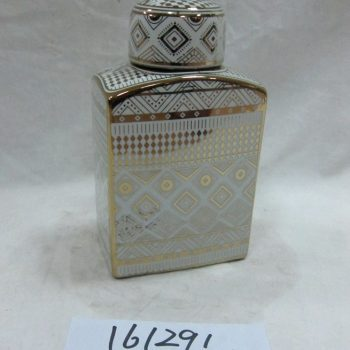 rzka161291    金边金色 图案 四方形扁 陶瓷罐 茶叶罐 糖果罐 大号