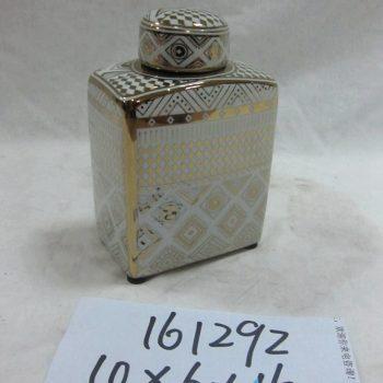 rzka161292    金边金色 陶瓷罐 四方扁 茶叶罐 糖果罐 中号