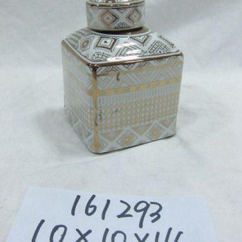 rzka161293   金边金色金线条图案 四方陶瓷罐 茶叶罐 糖果罐 小号