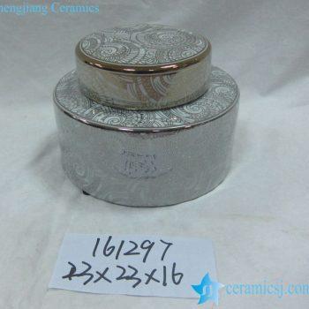 rzka161297    银边 银色圆形直筒 陶瓷罐 茶叶罐 糖果罐 小号