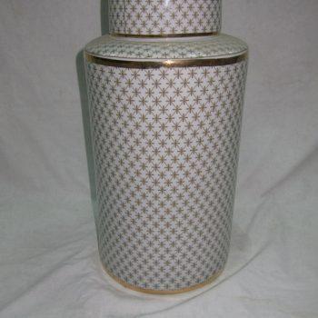 rzka161302    金边金色 网线条 直筒陶瓷罐 茶叶罐 糖果罐