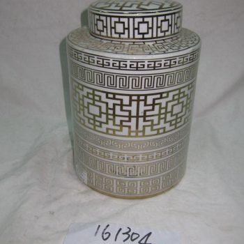 rzka161304    金色网线条 陶瓷罐 直筒 茶叶罐 糖果罐