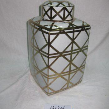 rzka161306   金色网纹线条菱形 陶瓷罐 茶叶罐 糖果罐