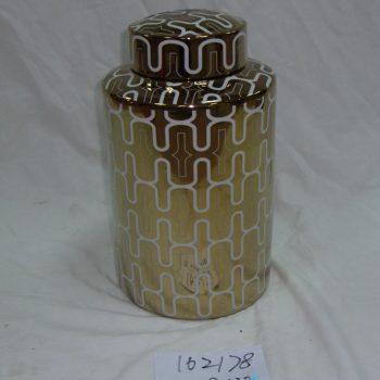 rzka162178   金色 线条图案 陶瓷罐 直筒茶叶罐 糖果罐
