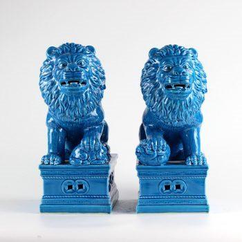 RYXZ11_景德镇仿古孔雀蓝釉兰色对狮 大号狮子狗 陈设摆设雕塑 动物