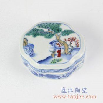 RYAS148_手绘青花斗彩风景人物图案印泥盒胭脂盒墨盒文房器具首饰盒