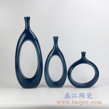 RYKB151-C_颜色釉陶瓷家居摆件现代简约设计装饰陶瓷花瓶组合橱窗壁柜书架摆件北欧简约风