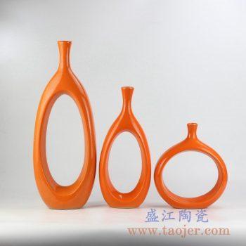 RYKB151-D_颜色釉橘黄色陶瓷家居摆件现代简约设计装饰陶瓷花瓶组合橱窗壁柜书架摆件北欧简约风