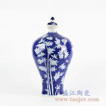 RYLU103_手绘青花蓝底蓝地竹子仿古花瓶 酒瓶 梅瓶 室内装饰摆设 带盖陶瓷瓶