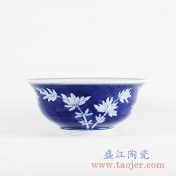 RYLU107-B_景德镇仿古手绘蓝底蓝地青花竹子碗 蓝色饭碗汤碗面碗陶瓷碗餐具