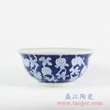 RYLU107-c_景德镇仿古手绘蓝底蓝地青花瓜藤碗赏碗饭碗面碗陶瓷餐具