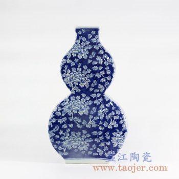 RYLU108-B _仿古手绘仿古蓝底 蓝地牡丹花葫芦扁瓶花瓶家居装饰摆件陶瓷花瓶