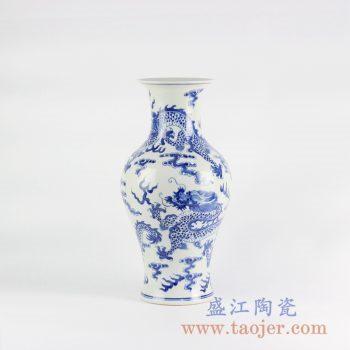RYLU110_景德镇手绘仿古青花龙纹花瓶云纹传统青花瓷摆件装饰品室内陈设陶瓷