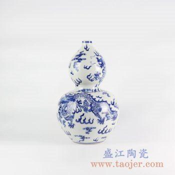 RYLU111_景德镇仿古手绘青花龙纹葫芦瓶 花瓶 清代风格陶瓷摆件 简约装饰