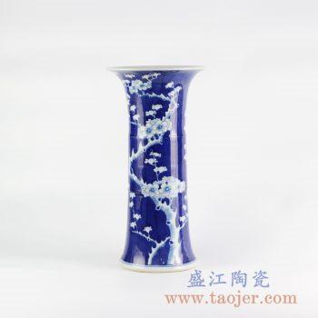 RYLU114_手绘蓝底青花梅花 蓝地冰梅花菇 花瓶 传统现代装饰花瓶摆件