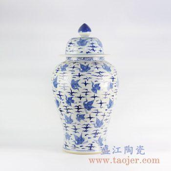 RYLU122_景德镇仿古手绘青花仙鹤将军罐清代风格陶瓷罐装饰摆设古典家具装饰