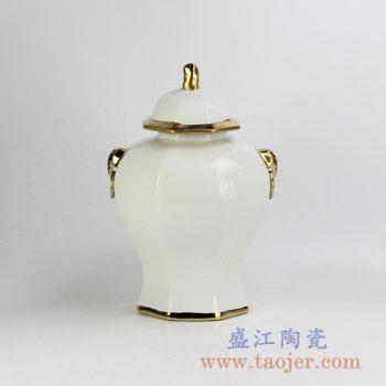 RYNQ166-C_现代风格装饰描金双耳乳白色将军罐储物罐艺术摆件陶瓷装饰陈设小号