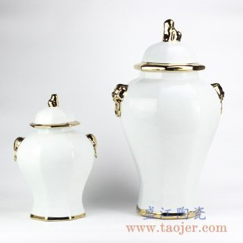 RYNQ166-C_现代描金双耳乳白色将军罐储物罐艺术摆件品大号室内装饰陈设