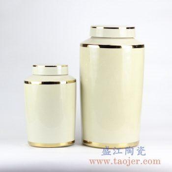 RYNQ184-E-TWO-_颜色釉乳白色时尚陶瓷罐茶罐盖罐储物罐现代家具室内装饰陈设