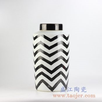 RYNQ184-F_乌金釉条纹直筒茶叶罐盖罐 罐子陶瓷储物罐现代装饰风格陈设时尚陶瓷罐