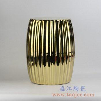 RYNQ185-B_颜色釉镀金条纹凉凳花园凳瓷墩家居用品吧台凳卧室家具