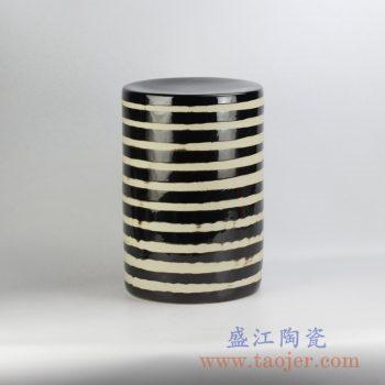 RYNQ198_黑黄条纹颜色釉瓷墩凉凳花园凳换鞋凳户外庭院桌凳陶瓷凳