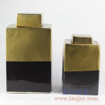 RYNQ201-B_颜色釉镀金乌金釉茶叶罐瓷罐密封储物罐现代家居装饰陶瓷罐特价