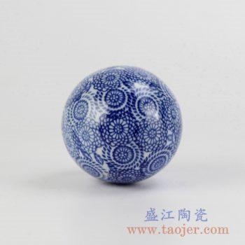 RYPU23-C_青花漂浮陶瓷球装饰家居摆件鱼池鱼缸装饰风水球工艺品