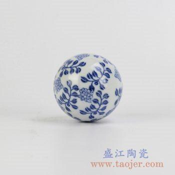 RYPU23-E_细花青花漂浮陶瓷球装饰家居摆件鱼池鱼缸装饰风水球工艺品