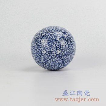 RYPU23-F_青花漂浮陶瓷球装饰家居摆件鱼池鱼缸装饰风水球工艺品