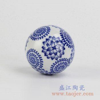 RYPU23-d_莲花青花漂浮陶瓷球装饰家居摆件鱼池鱼缸装饰风水球工艺品