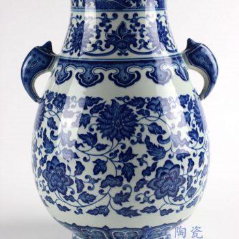 RYUU10_景德镇仿古手绘青花缠枝莲象耳福筒花瓶家居装饰摆设传统装饰瓷瓶