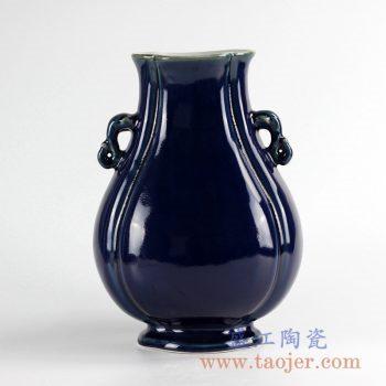 RYUU11_景德镇仿古清祭蓝釉象耳尊 古董古玩 瓷器 复古 中式古典家居摆件