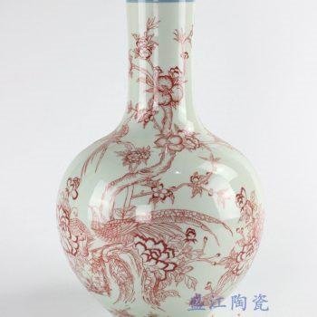 RYUU15_仿古手绘玛瑙红花鸟瓶 景德镇陶瓷花瓶花器摆件 明清古典居家装饰