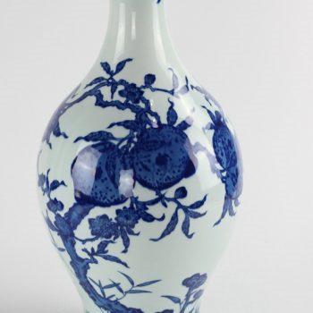 RYUU20_仿古景德镇复古陶瓷器花瓶手绘青花寿桃橄榄瓶 花瓶花插