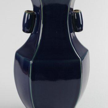 RYUU22_仿古六方形花瓶 祭蓝釉多边瓶花瓶摆件景德镇陶瓷装饰摆设