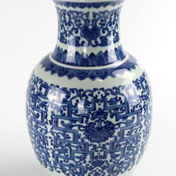 RYUU23_景德镇陶瓷花瓶摆件高档手绘仿古青花缠枝莲冬瓜瓶客厅花瓶摆设