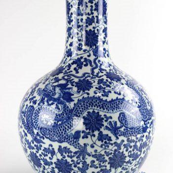 RYUU24_景德镇瓷器青花手绘青龙盘缠花瓶天球瓶收藏赠礼精工家居装饰摆件