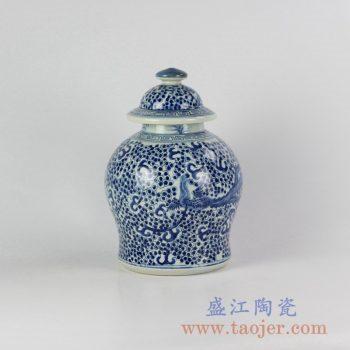 RYVM15-B_仿古青花凤凰陶瓷罐盖罐花瓶工艺品景德镇现代传统家居装饰陶瓷摆件