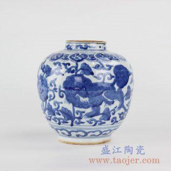 RYVW10-A_景德镇手绘青花麒麟花瓶陶瓷罐 摆件家居装饰茶叶罐